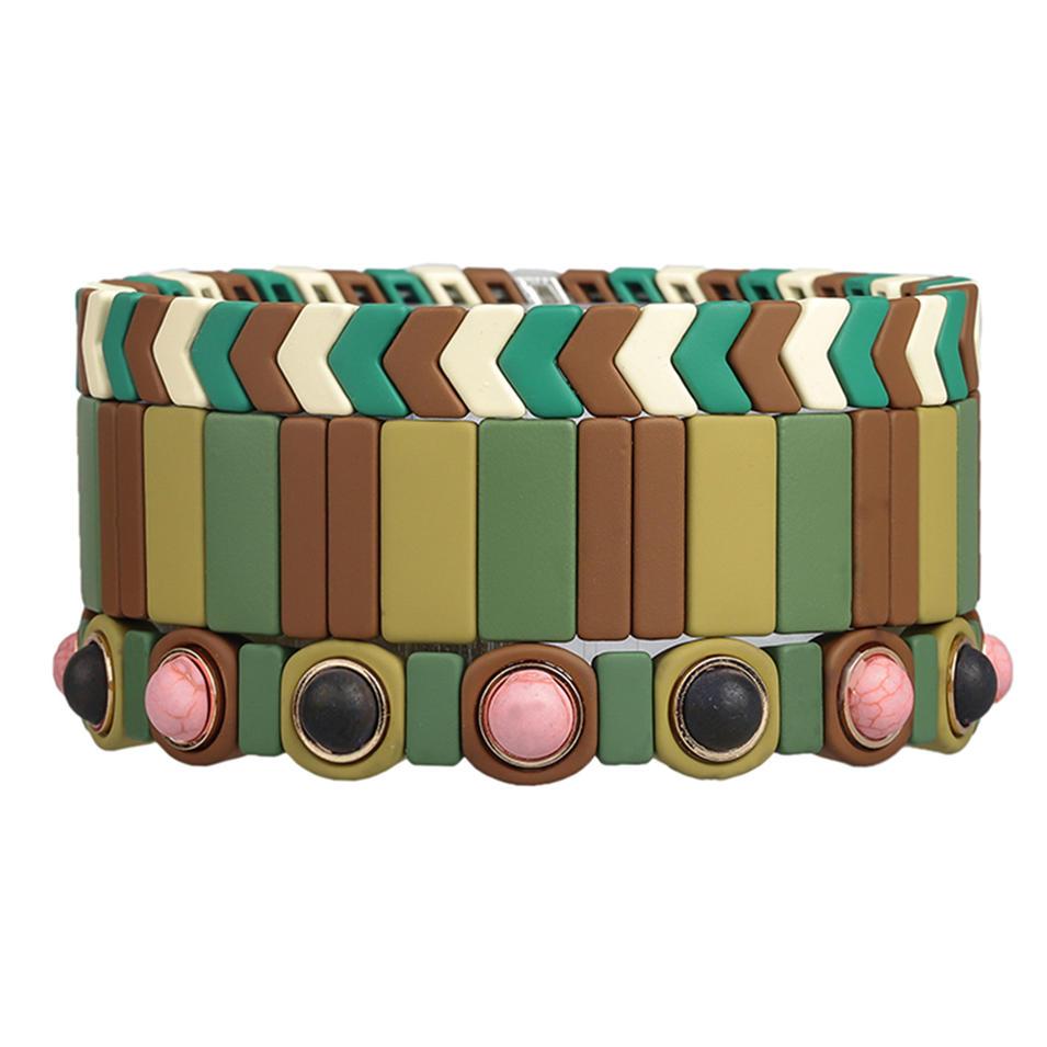Women Jewelry Friendship 3Pcs Handmade Camouflage Matte Wholesale Enamel Bracelet
