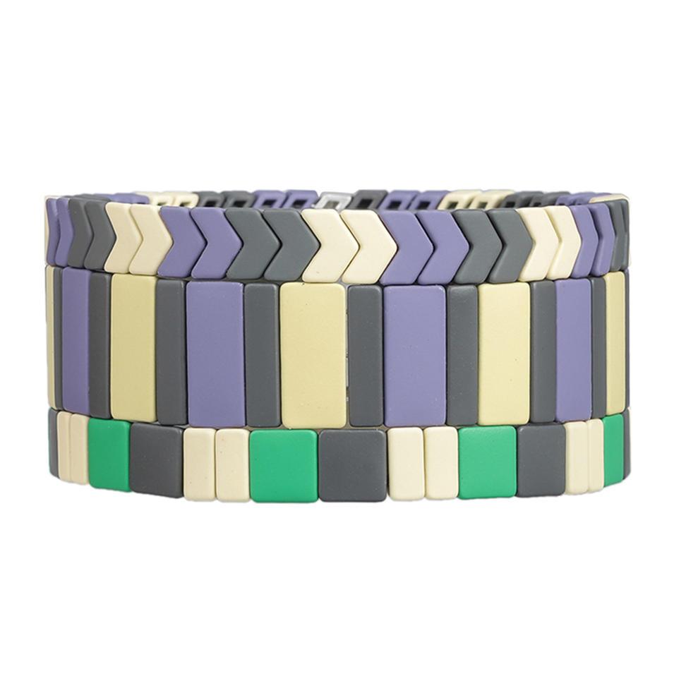 Cusomized Wholesale Handmade Women Jewelry 3Pcs Beige and Black Color Matte Enamel Bracelet