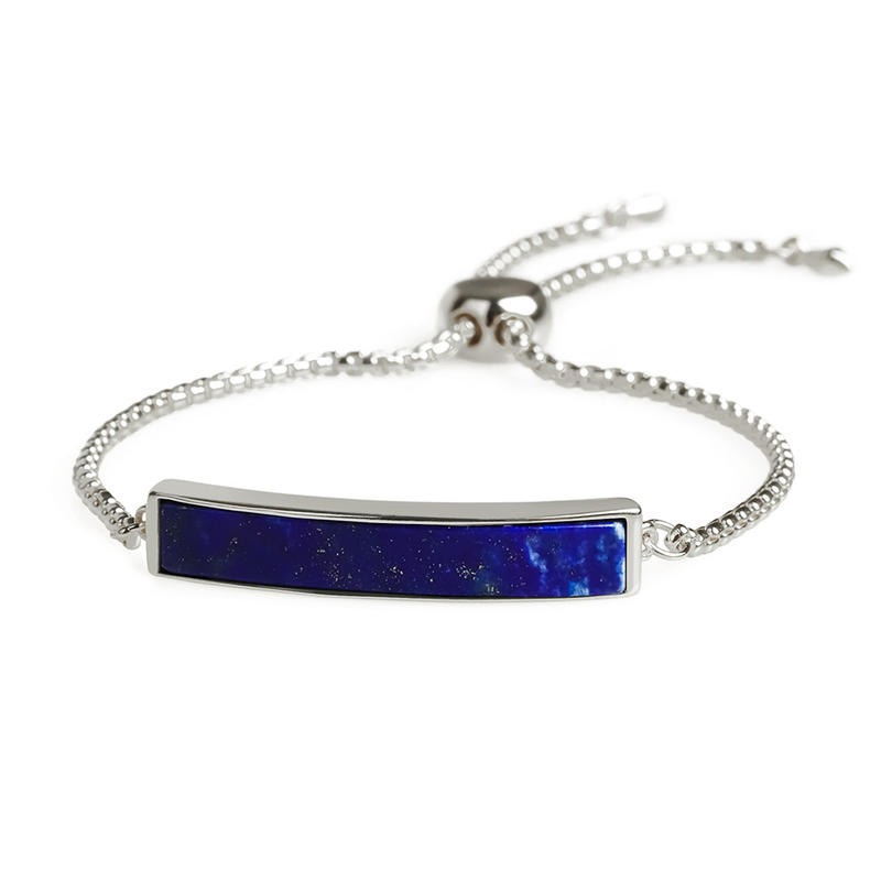 Wholesale Women Jewelry Natural Lapis Lazuli Gold Plating Sliding  Hand Chain Bracelet