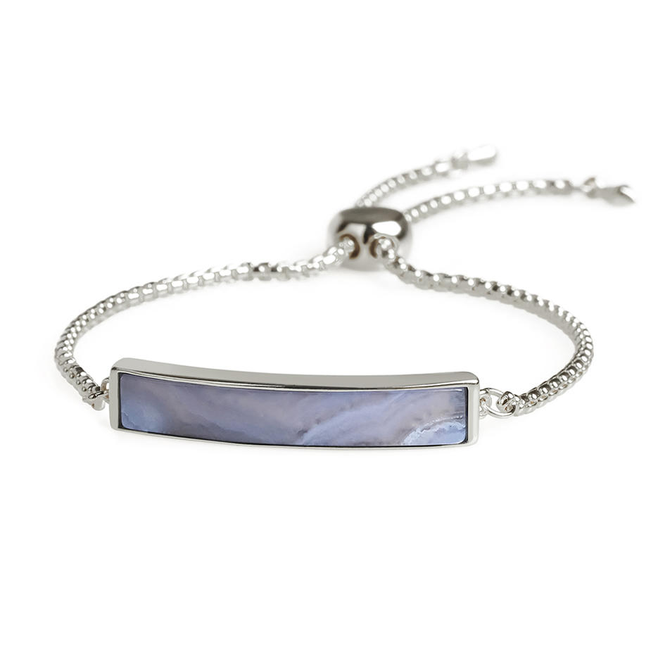 Customized Logo Natural Blue Agate Gold Plating Slider Bracelet Hand Chain Women Jewelry