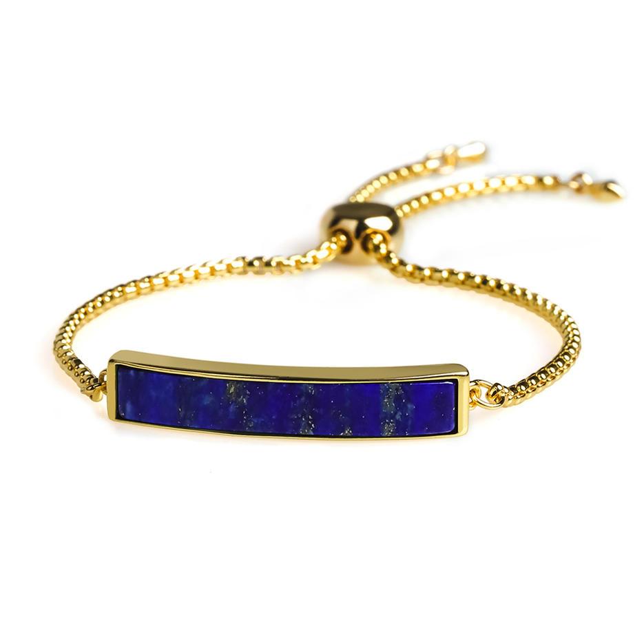 Stylish Trendy High-Quality Natural Lapis Lazuli 18k Plating Copper Silder Hand Chain Bracelet Women Jewelry