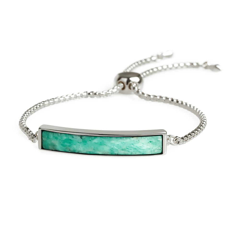 Natural Amazonite Gold Plating Slider Bracelet Wholesale Women Jewelry