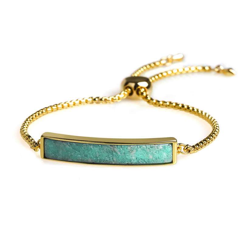 Friendship Stylish Wholesale 18K Gikd Plating Natural Amazonite Slider Bracelet Hand Chain Women Jewelry