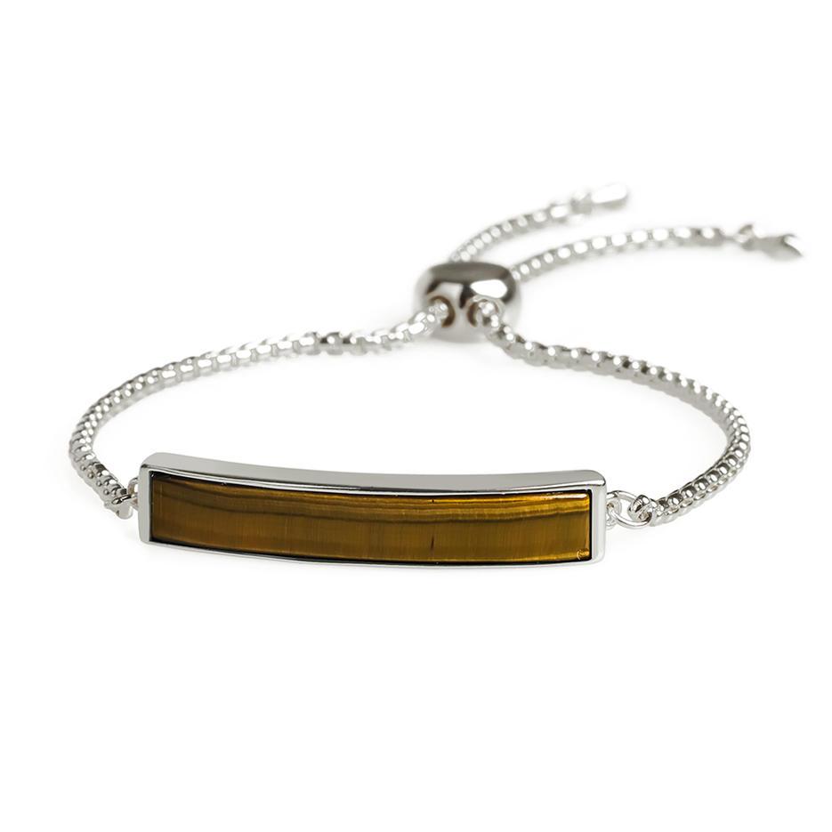 Gold Plating Wholesale Trendy Natural Tiger eye stone Hand Chain  Slider Bracelet Women Jewelry