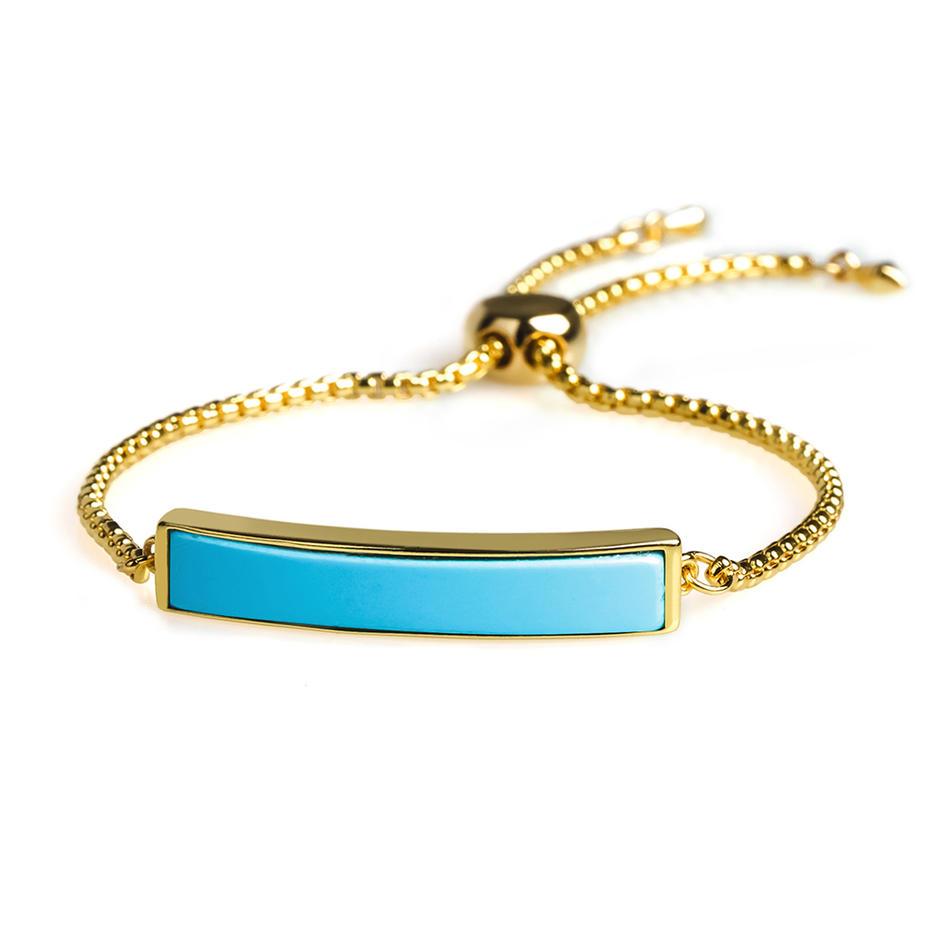Top Quality Wholesale 18K plating Turquoise Adjustable Slider Handmade Chain Bracelet Women Jewelry