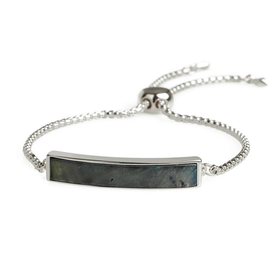 Vogue Top Quality Gold Plating Natural Labradorite Slider Hand Chain Bracelet Women Jewelry