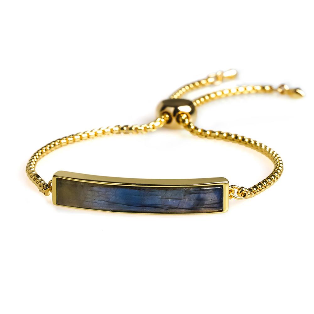 New Design Wholesale Natural Labradorite 18k Glod plating Semilunar Slider copper Chain Bracelet