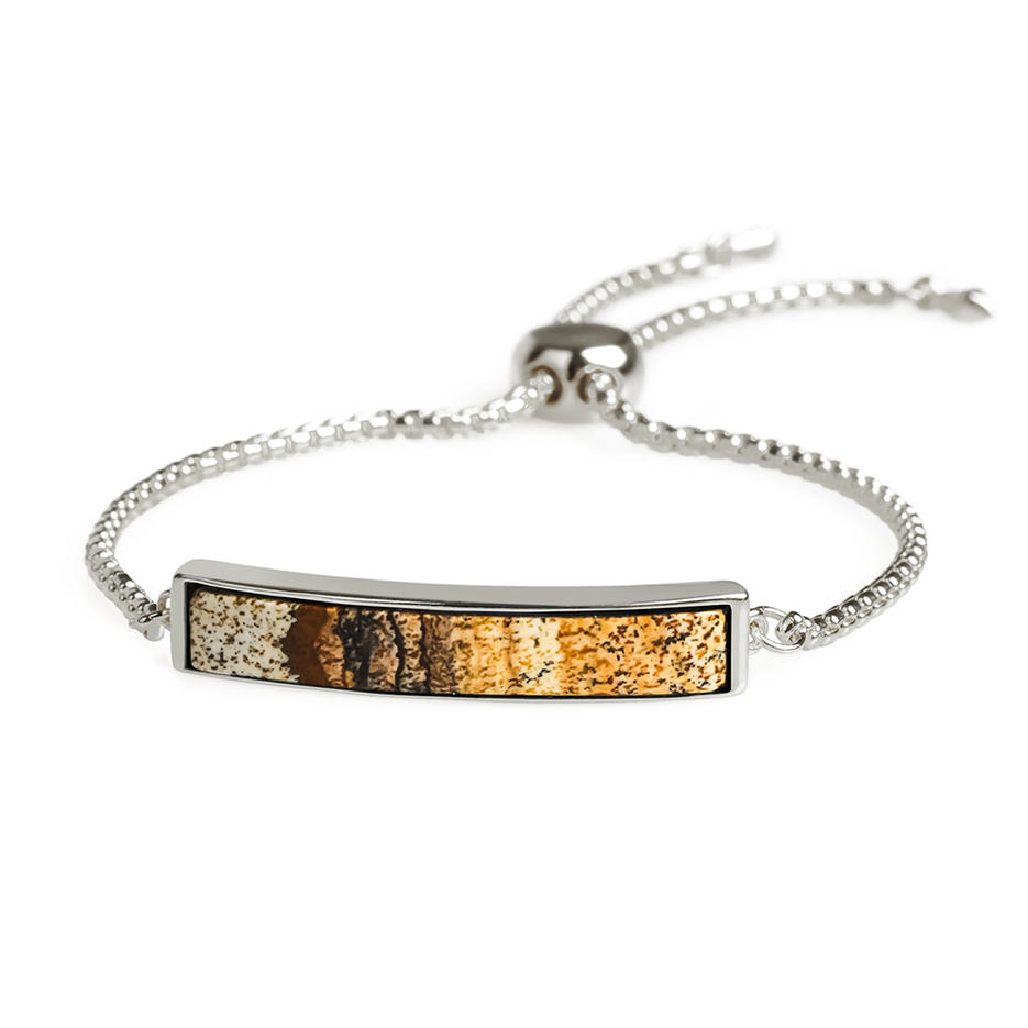 Latest Trendy Wholesale Gold Plating Natural Picture Stone Slider Copper Bracelet Hand Chain