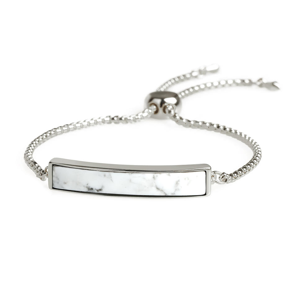 ODM OEM Manufacturer New Popular Gold Plating Howlite Sliding Bracelet Hand Chain Women Jewelry