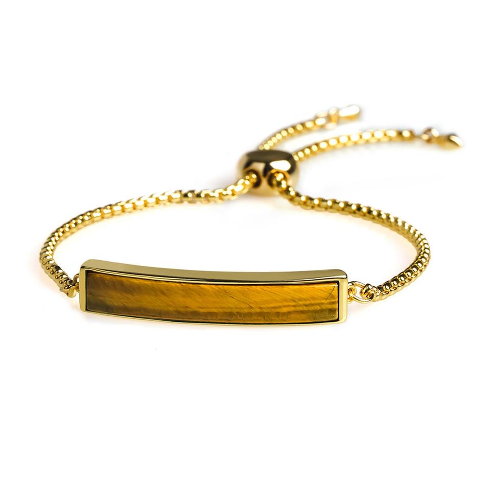 Popular Wholesale Women Jewelry Adjustable Plating Copper Natural Tiger eye stone Slider Hand Chain Bracelet