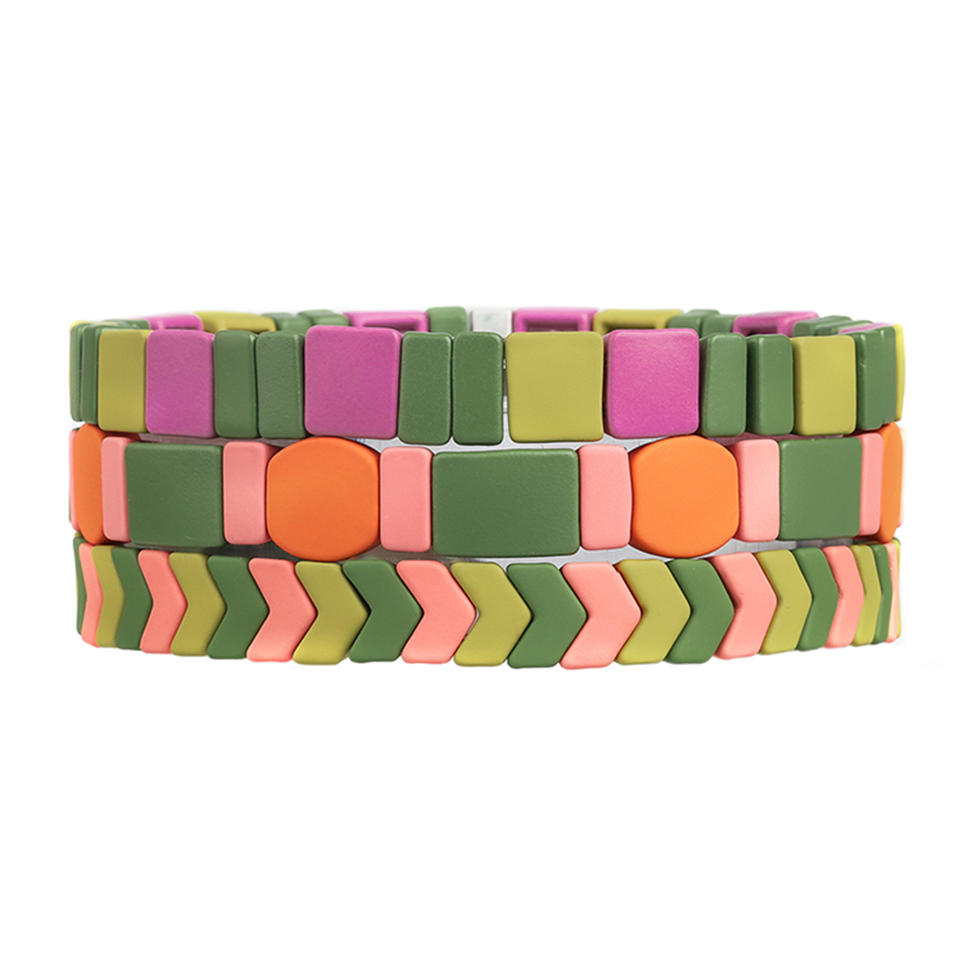 Colorful Rainbow New Design Handmade Wholesale Matte Enamel Bracelet Women Jewelry
