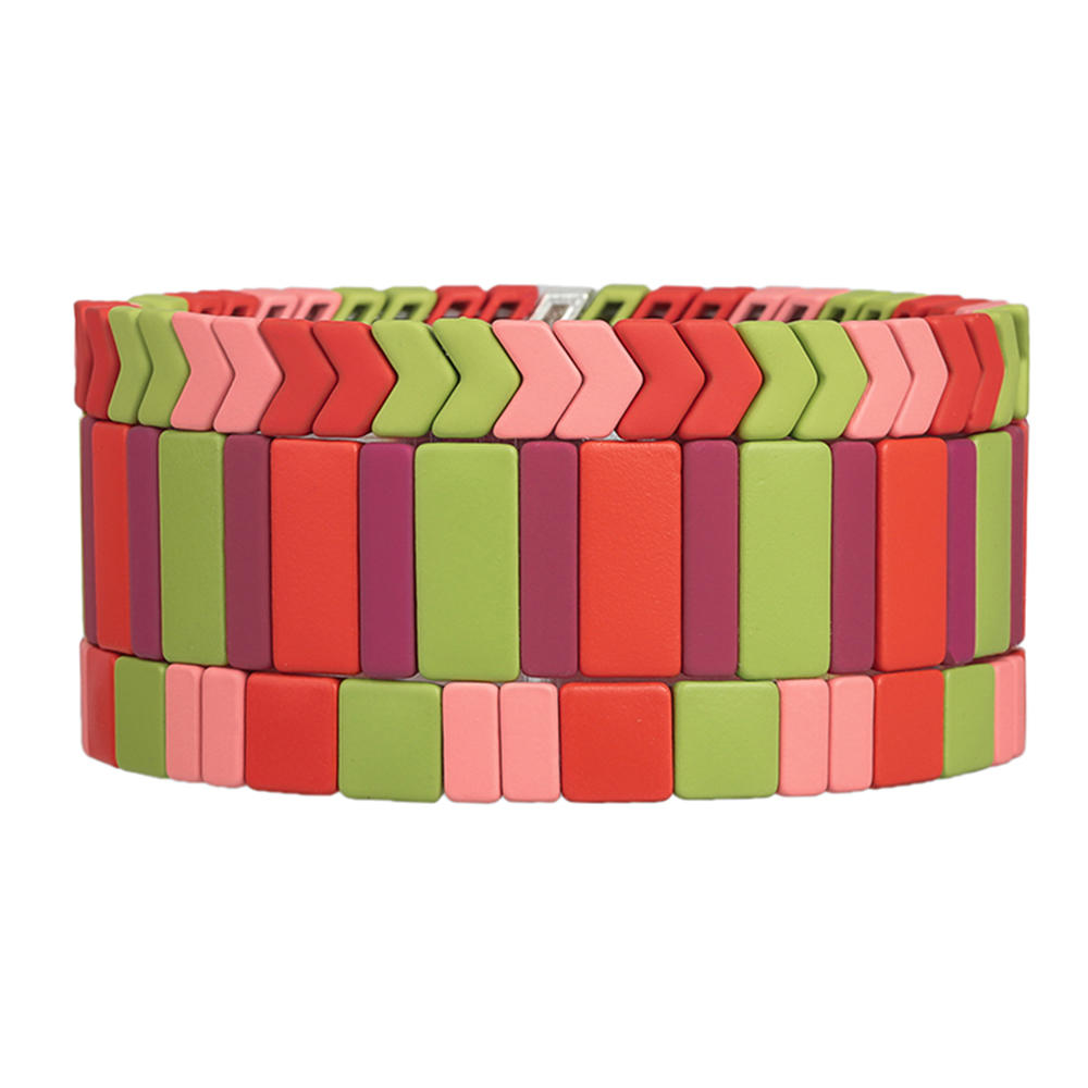 Stylish Top Quality Grass Pink and Red Color 3Pcs Handmade Women Jewelry Wholesale Enamel Tile Bracelet