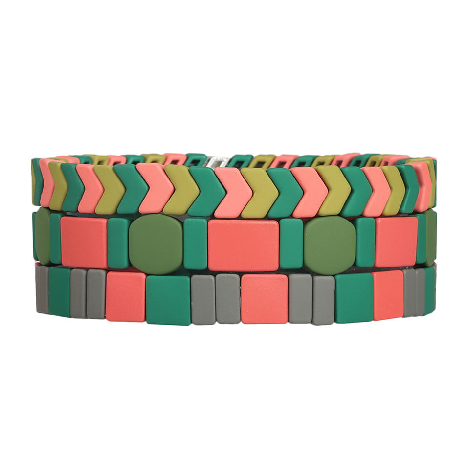 Matte Colorful 3Pcs Handmade Tile Enamel Bracelet Wholesale Women Jewelry