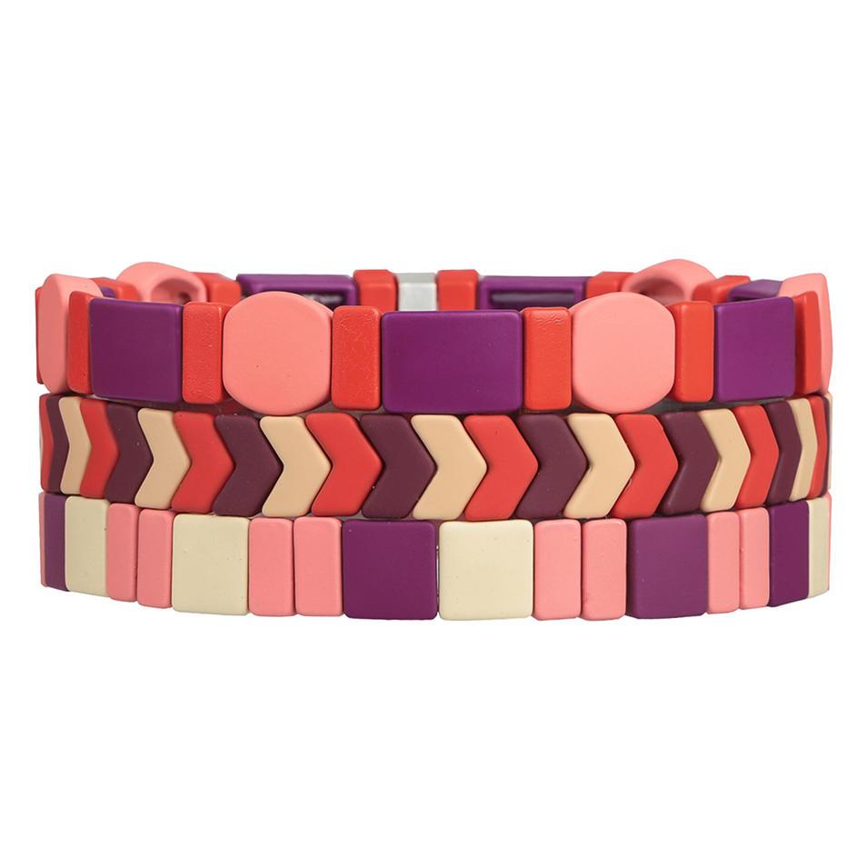 Red Pink Violet Color 3Pcs Fashion Wholesale Handmade Matte Enamele Bracelet Ladies Jewelry