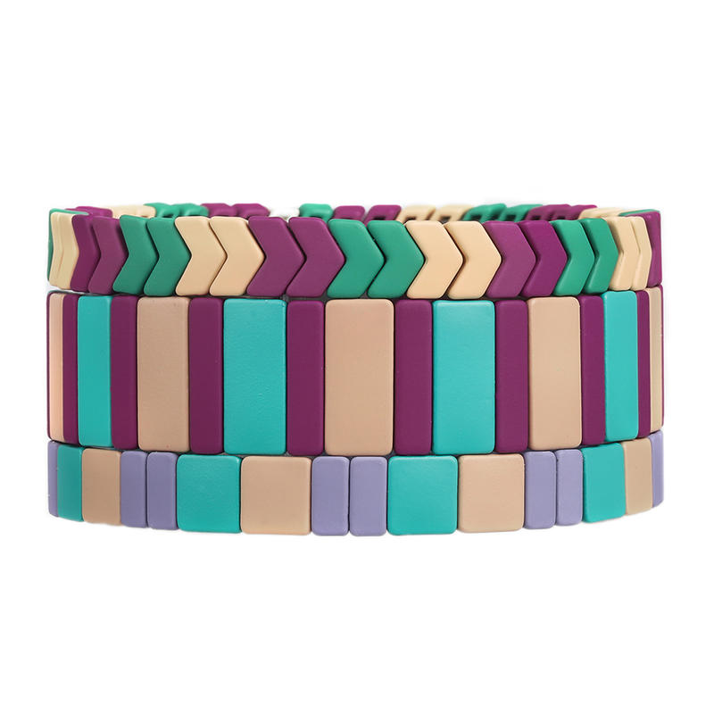 Spring Fresh Trendy Wholesale Handmade Colorful Matte Enamel Bracelet Women Jewelry