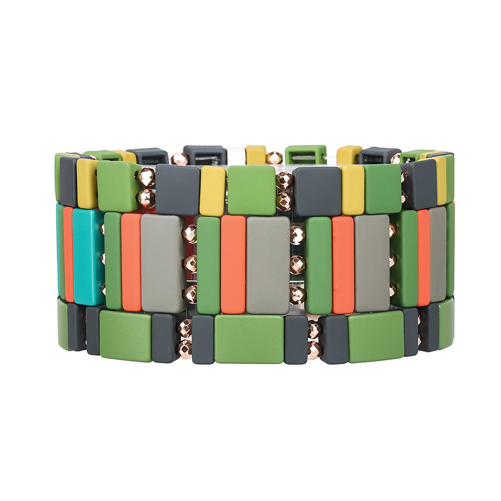 Autumn Trendy 3Pcs Colorful Camouflage Handmade Women Jewelry Hematite Enamel Bracelet