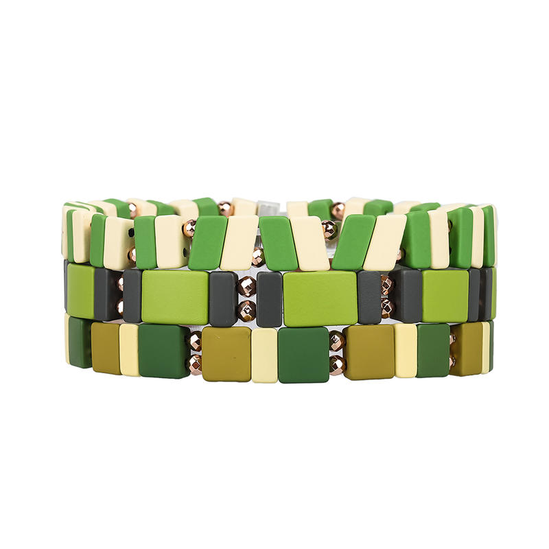 Fresh Women Jewelry Handmde 3Pcs Camouflage Color Hematite Enamel Bracelet