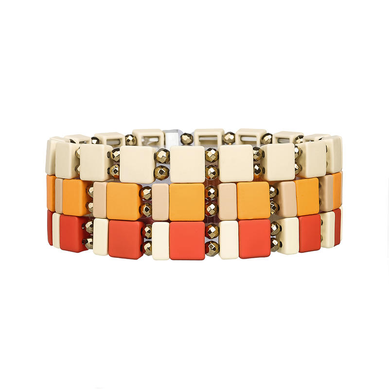 Stylish Top Qualitty Hematite Beige Red and Dark Yellow Color Enamel Bracelet