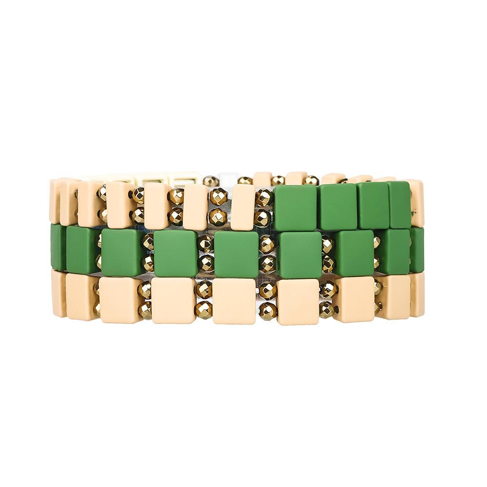 Vogue Popular Wholesale Handmade Hematite Beige and Green Color Enamel Bracelet For Women