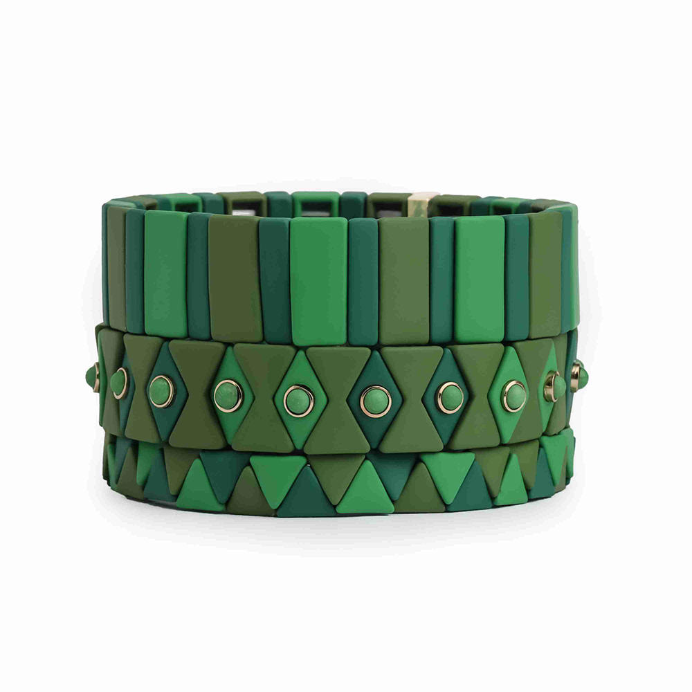 Fresh New Trendy Brown Gay Green Color Enamel Bead Bracelet Handmade Jewelry