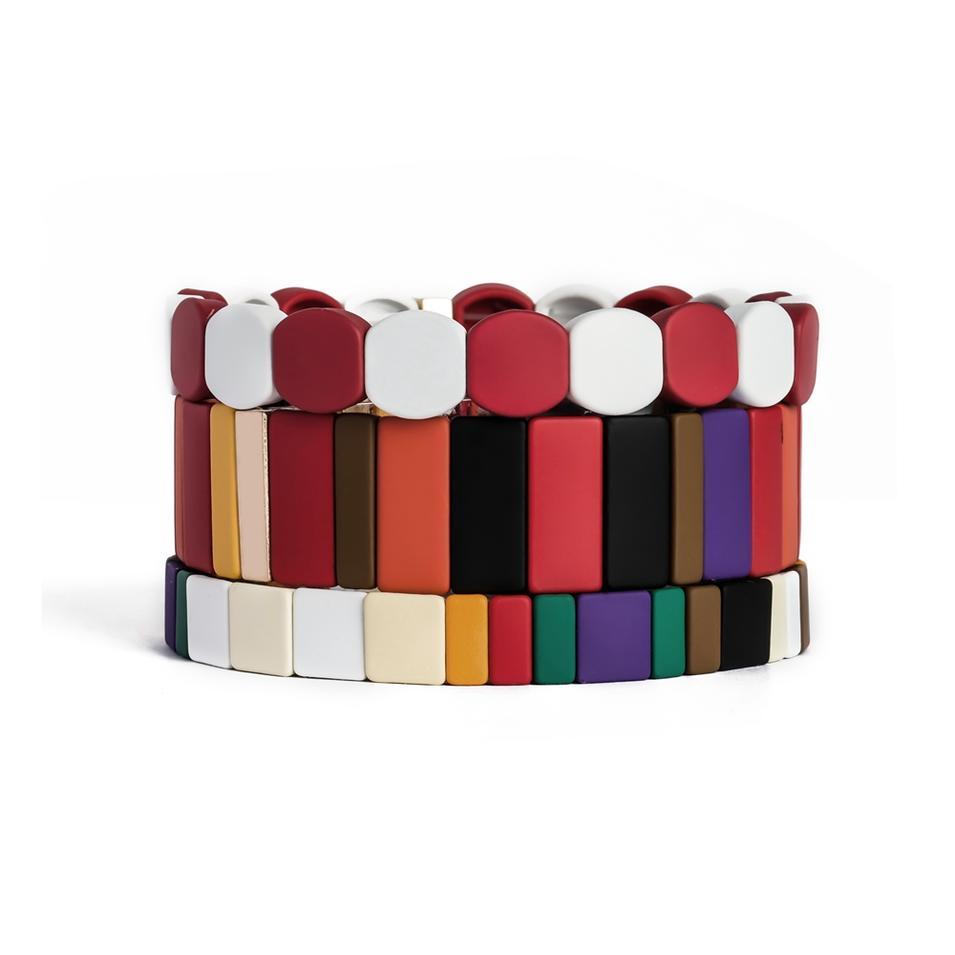 New Painted Bright Enamel Stretch Bangle Bracelet Metal Custom Logo Honeycomb Elastic Band Bracelet