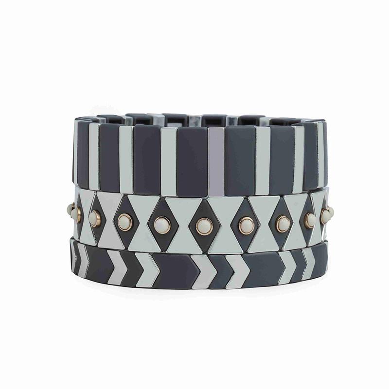 TTT Jewelry Men Unisex Stretch Stacked Metal Cuff Bangle Vintage Punk Tile Bead Grey Silver Enamel Bracelet
