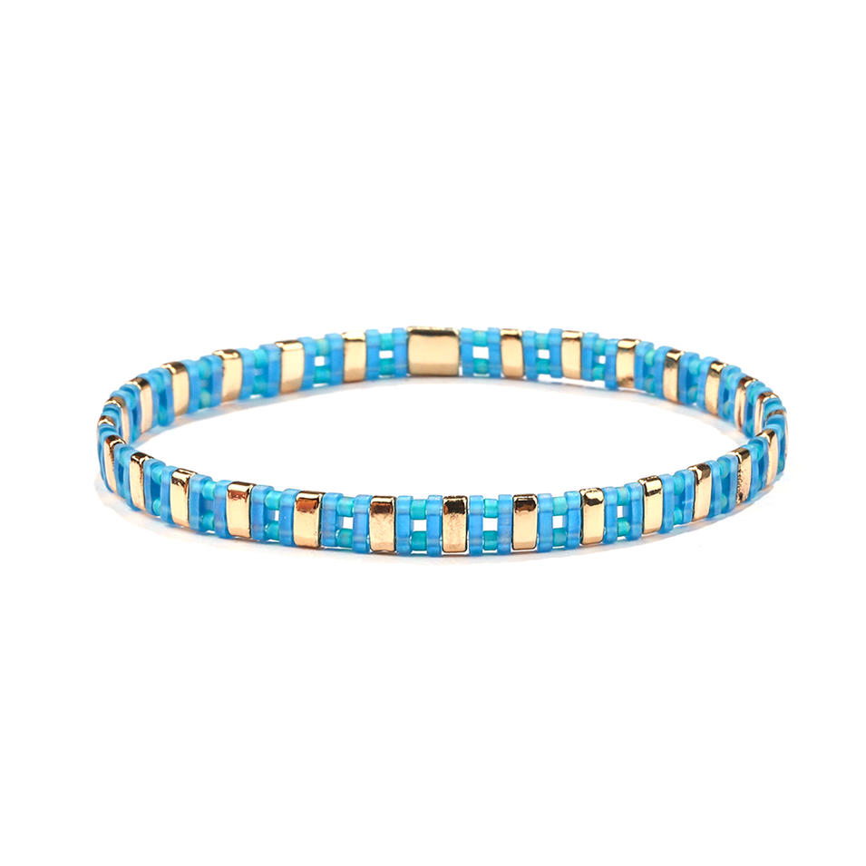 Wholesale New Design Handmade Translucent Blue Color Miyuki Tila Bead Bracelet Lady Jewelry