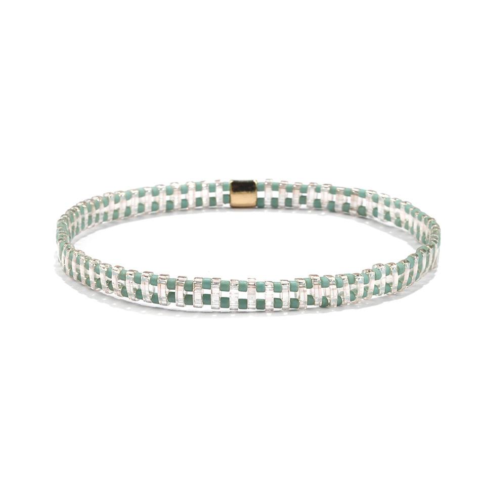 Beautiful popular Hanamade Wholesale Translucent Green Color Miyuki Tila Bead Bracelet