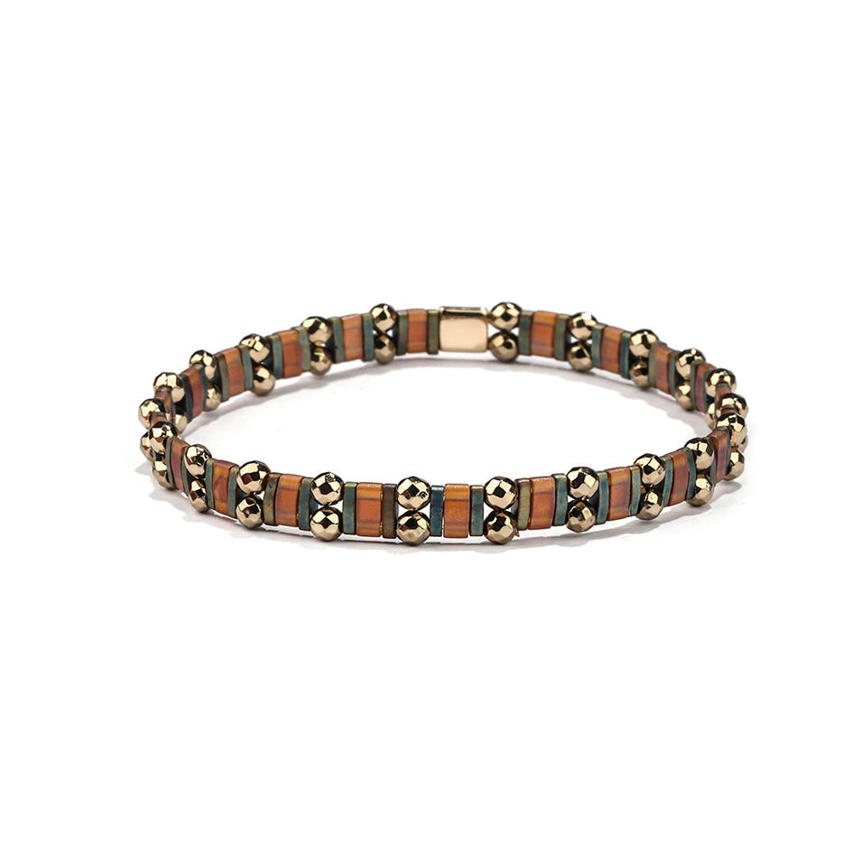Top Quality Stylish Handmade Dark Style Bronze Color Hematite Wholesale Tila Bracelet