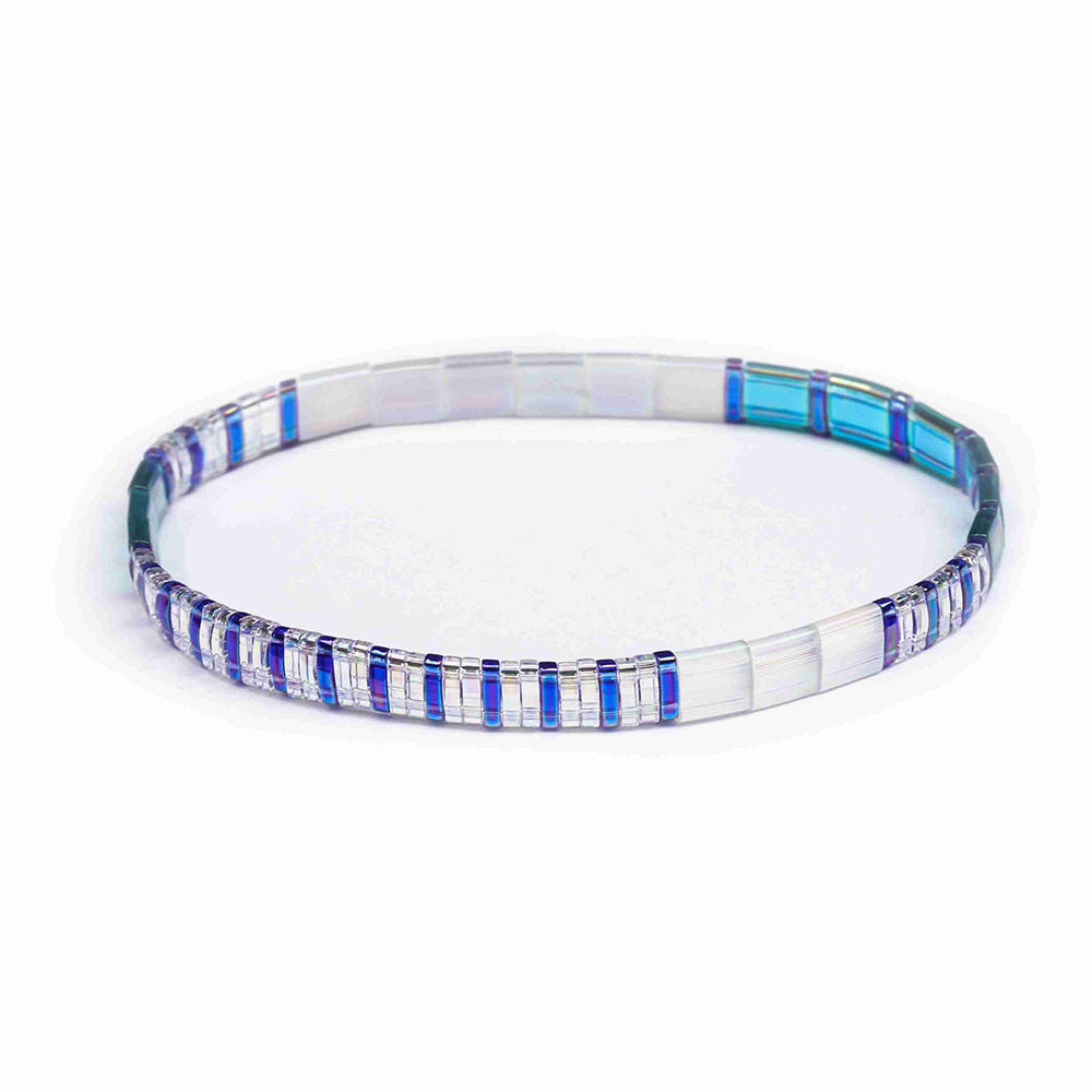 TTT Jewelry Vogue Handamade Wholesale Translucent Dazzle Blue Color Tila Bracelet