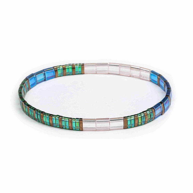 Popular Wholesale Handmade Translucent Green and Bronze Color Dazzle Blue Tila Bracelet Women Jewelry