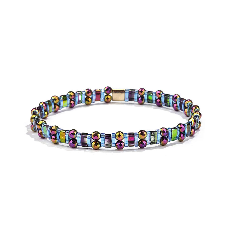 Colorful Personalized Wholesale Handmade Hematite Tila Bead Bracelet Ladies Jewelry