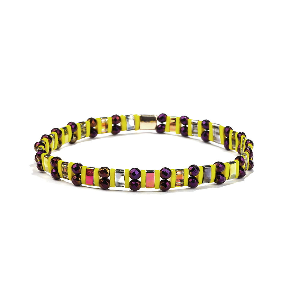 Customize Personalized Lady Jewelry Wholesale Dark Color Hematite Yellow Tila Bead Bracelet