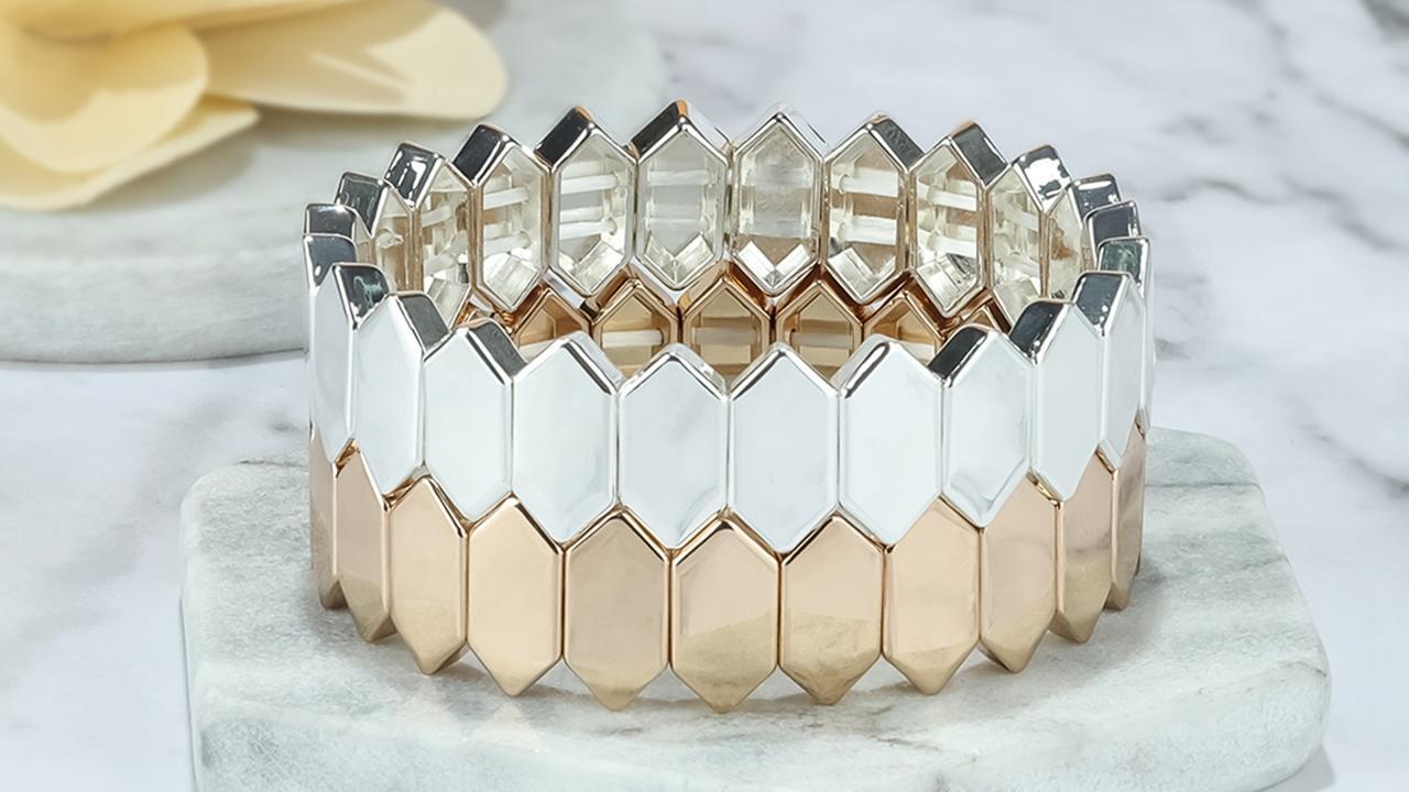Honeycomb shape alloy tile enamel bracelet