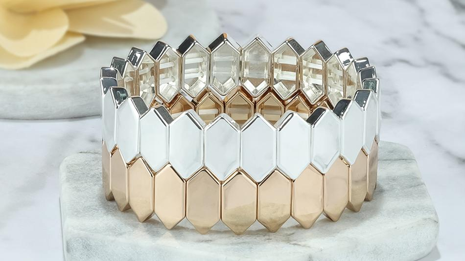 Honeycomb shape alloy tile enamel bracelet