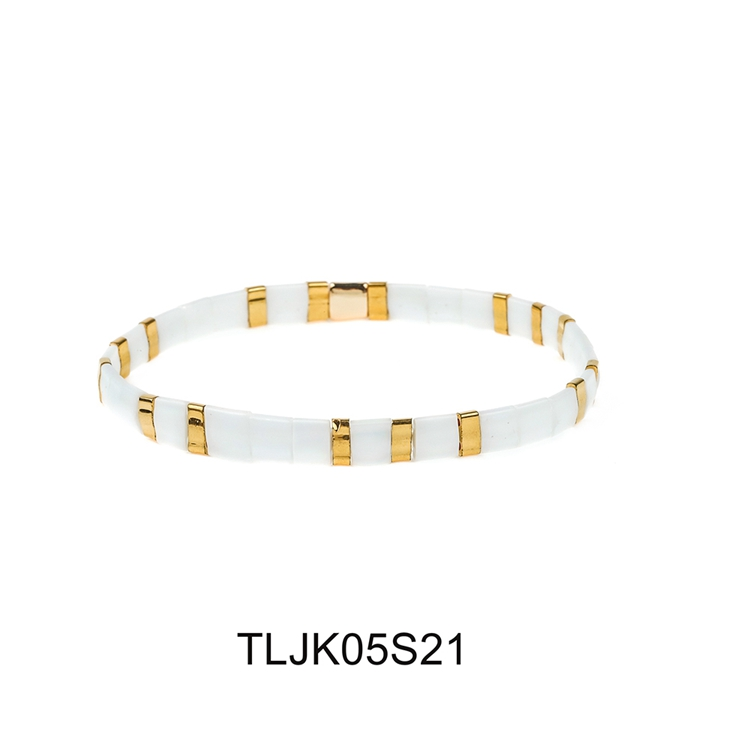 White and gold color elastic tila bracelet