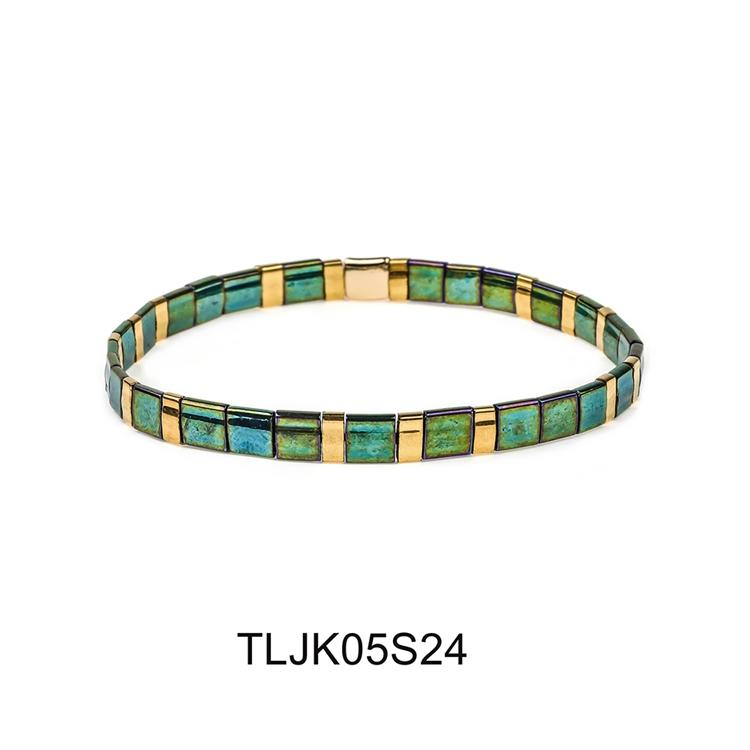 Colorful rainbow handmade bangle elastic tila seed beads women jewelry wholesale tila bracelet