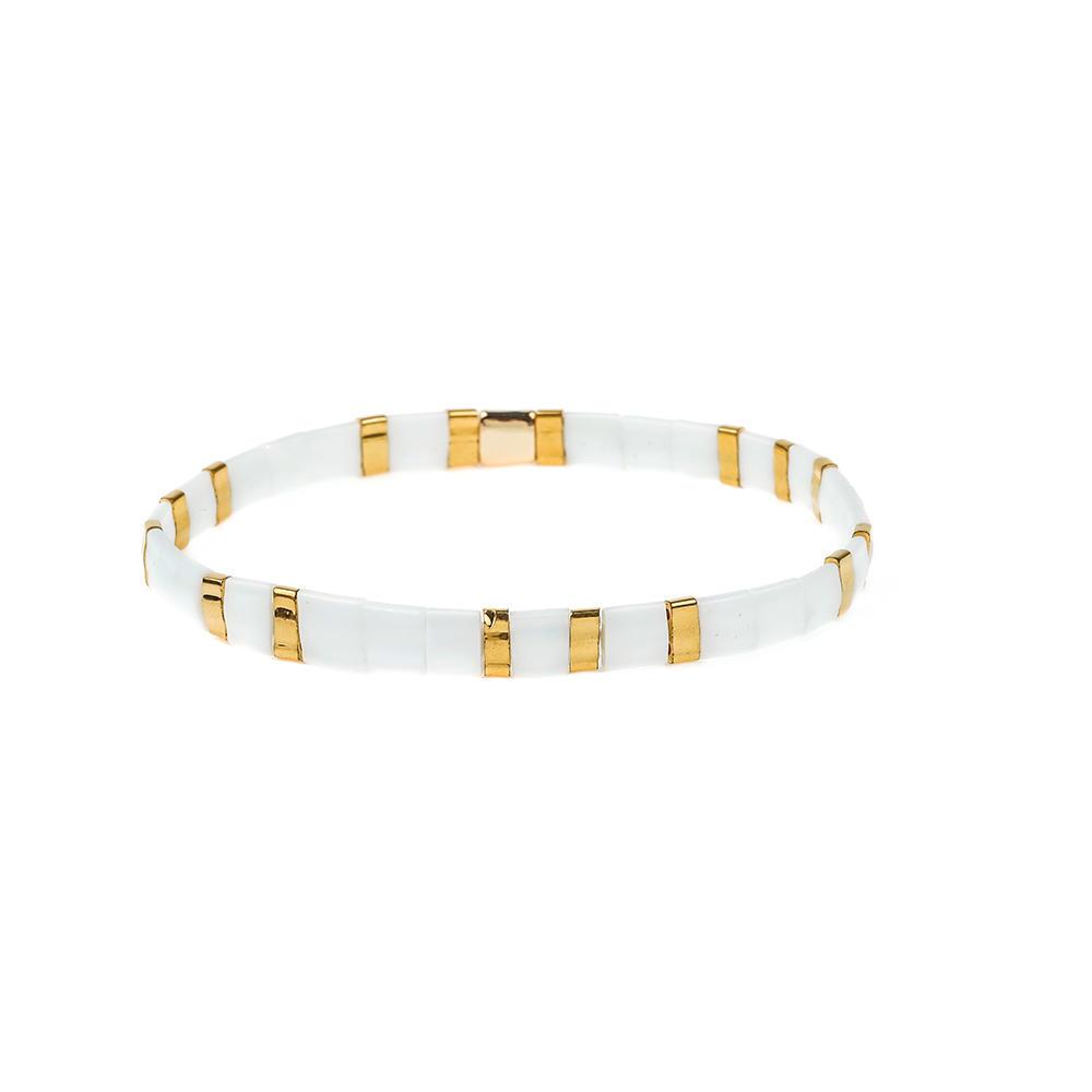 Colorful rainbow handmade bangle elastic tila seed beads women jewelry wholesale tila bracelet