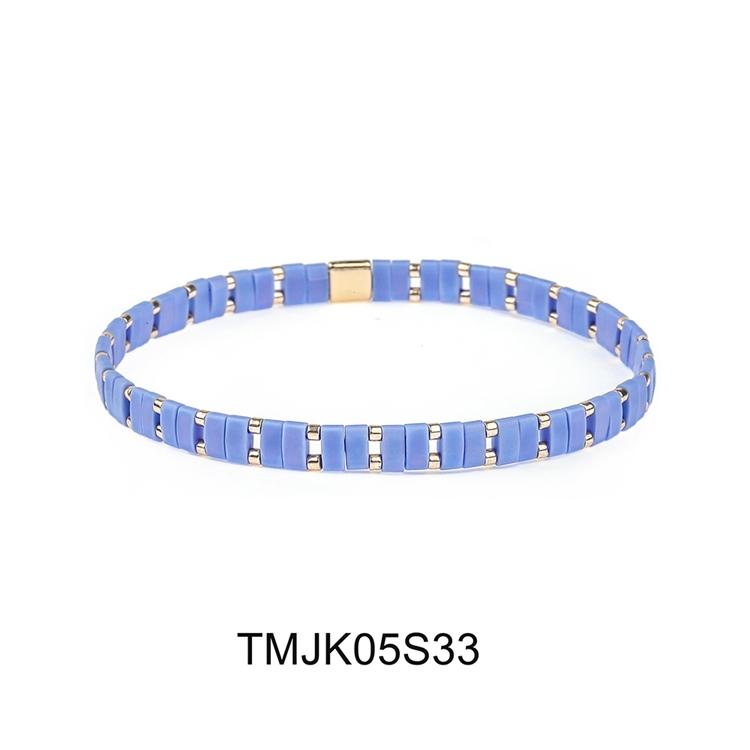 Sky blue color tila and gold plated miyuki bead bracelet women jewelry