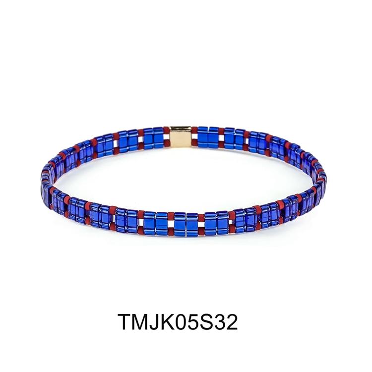 Blue color tila seed bead mixed red miyuki bead handmade bracelet women jewelry