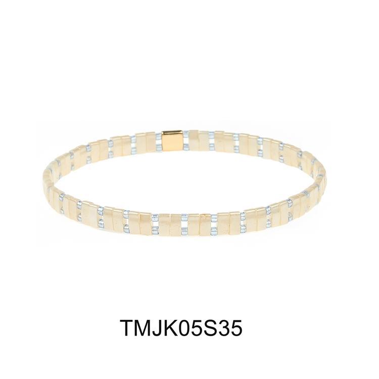 Elastic handmade miyuki seed tila bead colorful dazzle bracelet tila jewelry