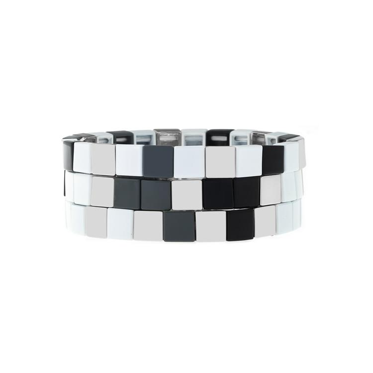 Hot Trendy Simple fashion Style Square Shqpe Tile Enamle Bracelet Handmade Jewelry