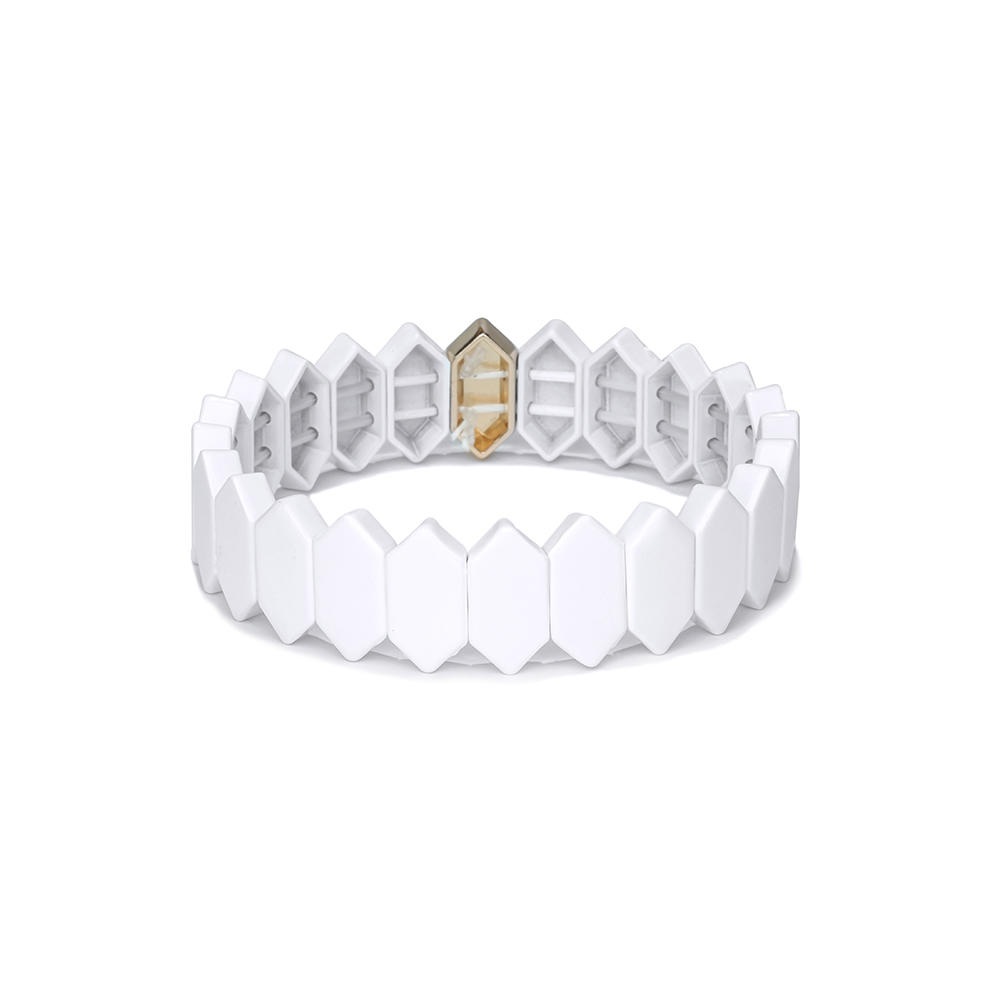 Simple Fashion Design Alloty Flat Face Honeycomb Shape Tile Enamel Bracelet Women Jewelry