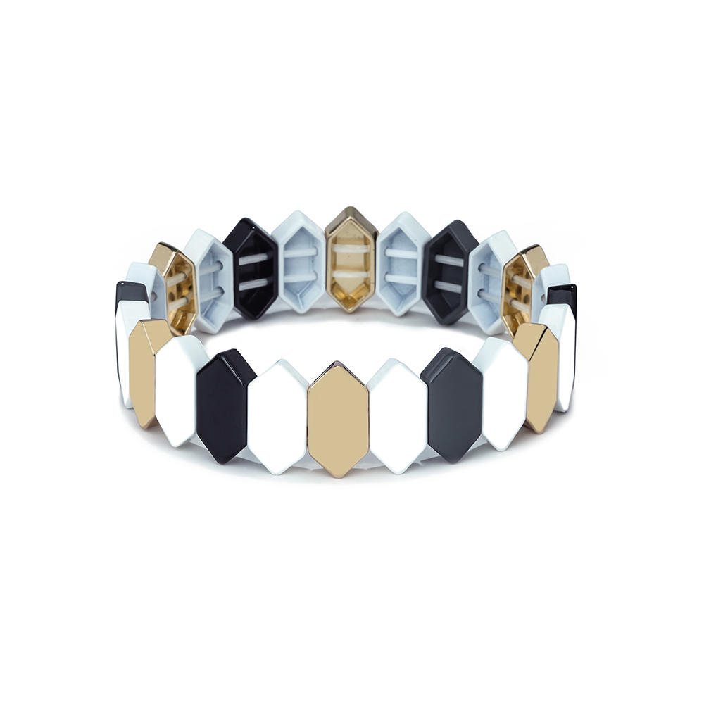 Simple Style Color Mixed Newest Design Honeycomb Shape Flat Face Metal Alloy Tile Enamel Bracelet Jewelry