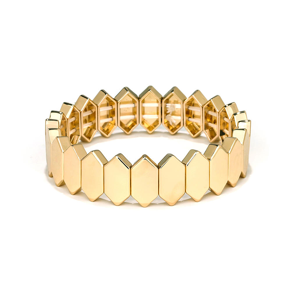 Winter Trendy Newest Design Honeycomb Shape Flat Face Metal Alloy Tile Enamel Bracelet jewelry
