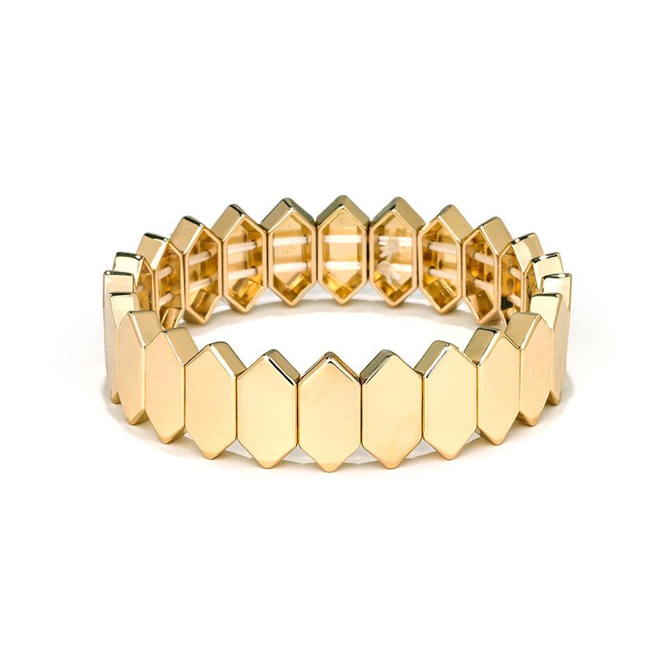 Winter Trendy Newest Design Honeycomb Shape Flat Face Metal Alloy Tile Enamel Bracelet jewelry