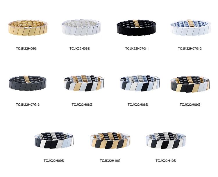 Simple style Cross Grain black white and gray Stackable tile emamel bracelet