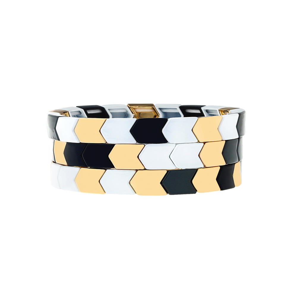 Stackable Simple Fashion Style Handmade Women Jewelry Arrow Shape Wholesale Tile Enamle Bracelet