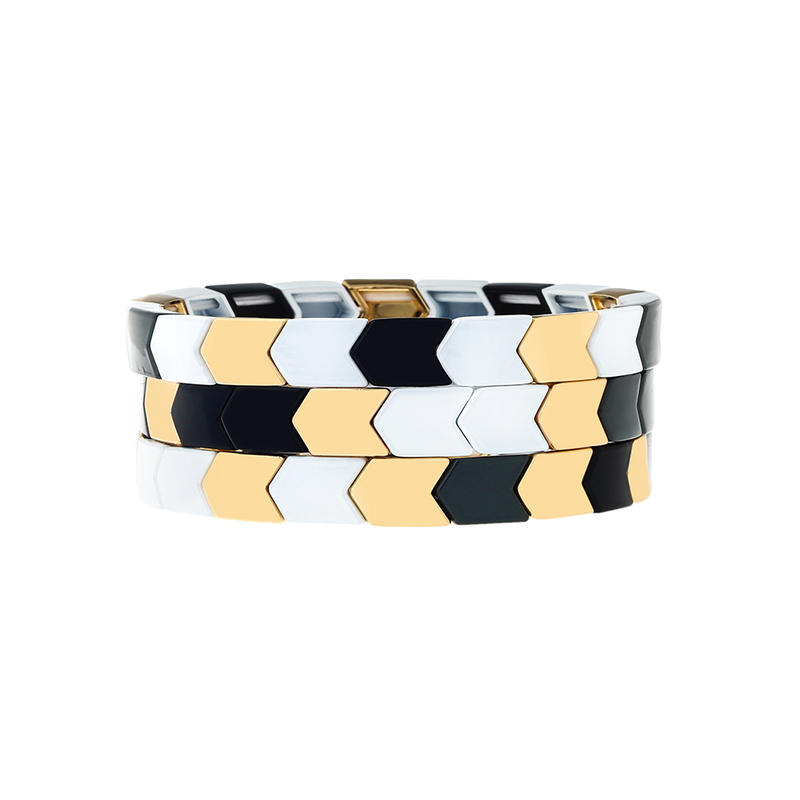 Stackable Simple Fashion Style Handmade Women Jewelry Arrow Shape Wholesale Tile Enamle Bracelet