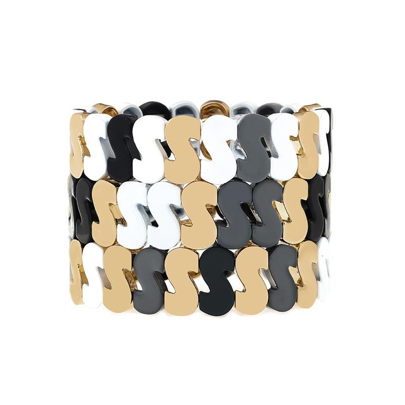 Rich S Shape Handmade Simple Style Tile Enamel Beads Wholesale Alloy Women Jewelry